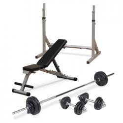 Folding FID Utility Bench + Body Power 52kg 7ft Combi Standard Weight Set + Squat Stand